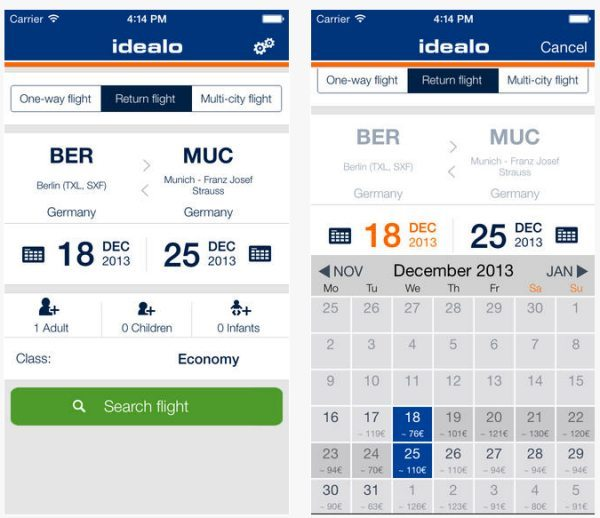 Find cheapest flights with new idealo app