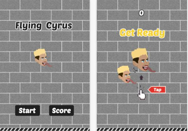 Flying Cyrus Wrecking Ball game, Flappy Bird revisited