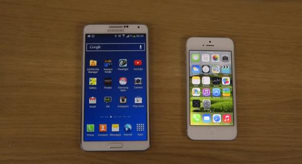 Galaxy Note 3 vs. iPhone 5 iOS 7.1 Beta 2 speed test
