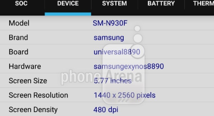 Galaxy Note 6 CPU-Z screenshot discloses some specs