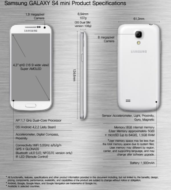Samsung Galaxy S4 Mini with official reveal, specs already known