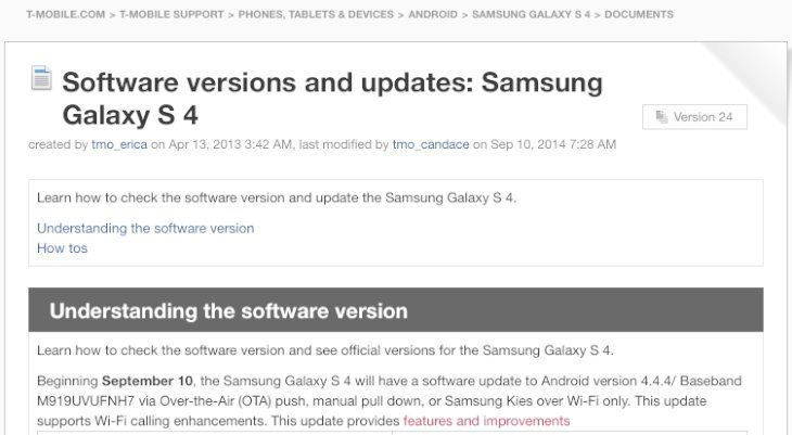 Galaxy S4 on T-Mobile update b