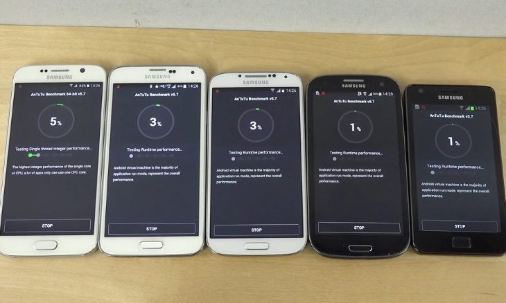 Samsung Galaxy S6 vs S5, S4, S3, S2 benchmark test compares
