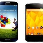 Google Galaxy S4 vs LG Nexus 4 in stock Android battle