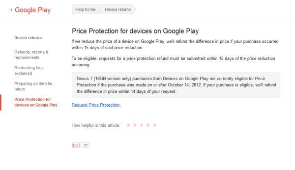 Google Nexus 7 16GB price protection &vouchers