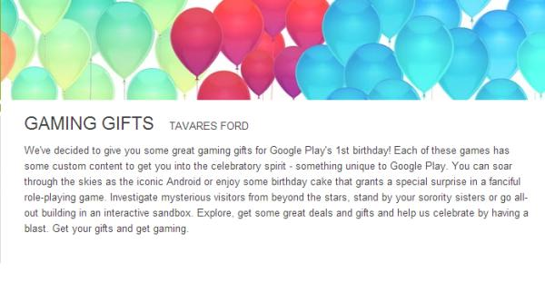Google Play birthday free & discounted games celebration
