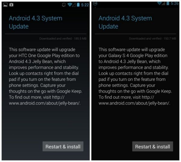 HTC One, Galaxy S4 GPE Android 4.3 update by OEMs