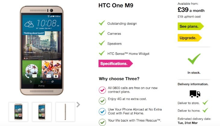 HTC One M9 Three UK