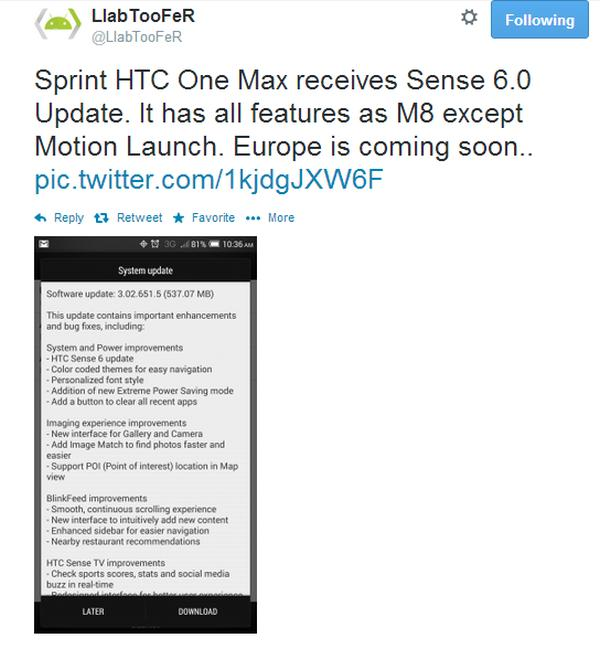 HTC One Max Sense 6 update begins