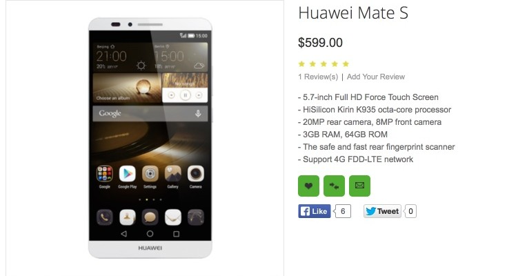 Huawei Mate S rumored for iPhone 6S feature