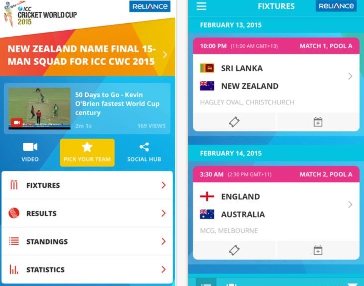 ICC Cricket World Cup official app b
