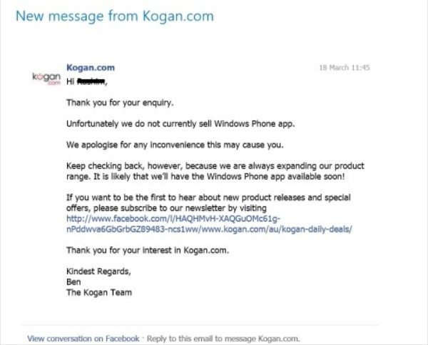 Kogan app for Australia coming to Windows Phone