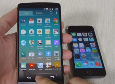 LG G3 vs iPhone 5S in heavyweight fight