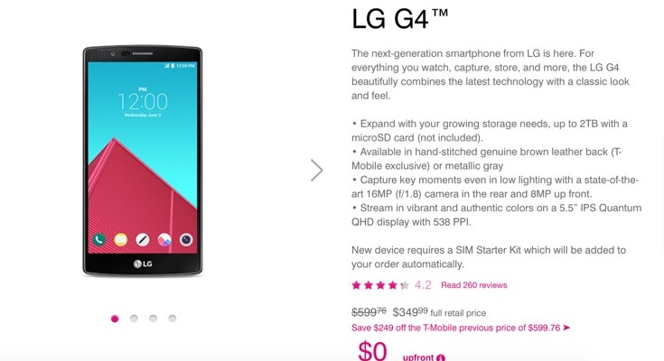 LG G4 price cut at T-Mobile before G5 release