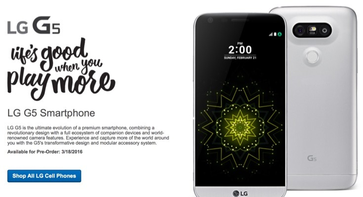 LG G5 Best Buy pre-orders open on March 18