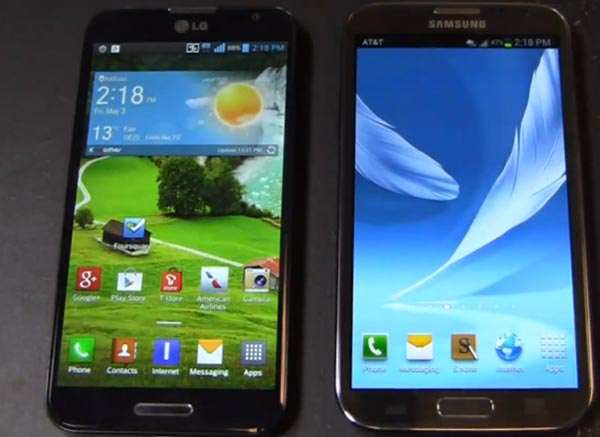 LG Optimus G Pro vs. Samsung Galaxy Note 2 skirmish