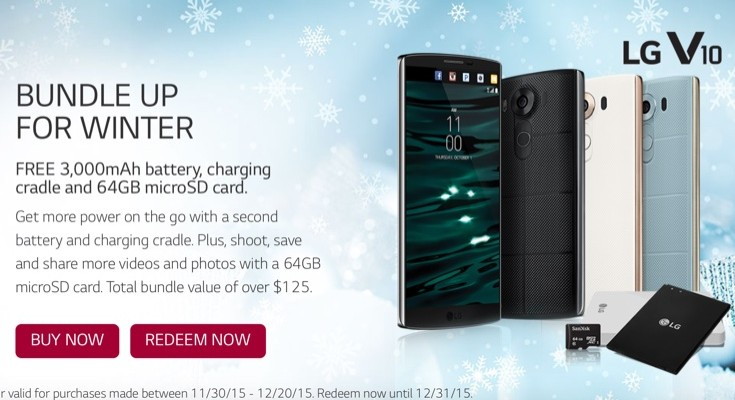 LG V10 freebies for purchases up to December 20