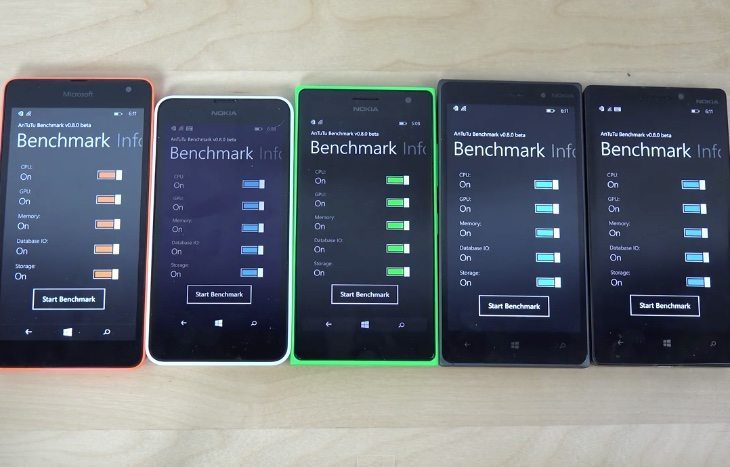 Lumia 535 vs 635, 735, 830, 930 bootup speeds and benchmark test