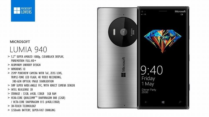Lumia 940 and 940 XL designs c
