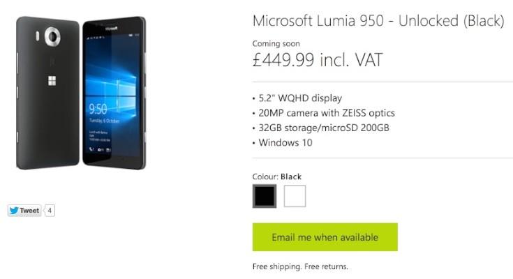 Lumia 950, 950 XL price cuts