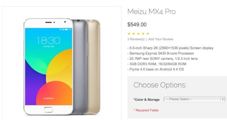 Meizu MX4 Pro price