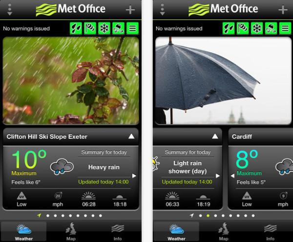 Met Office UK warnings via mobile app