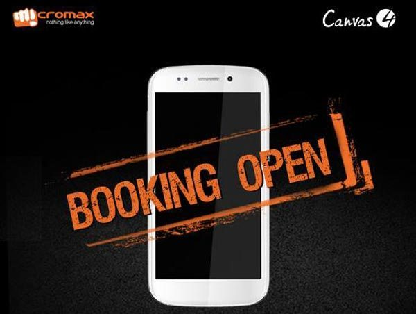 Micromax Canvas 4 early booking figures