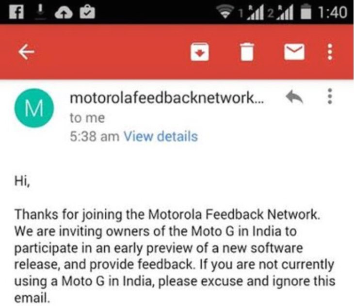 2013 Moto G update in India soak testing, could be Lollipop