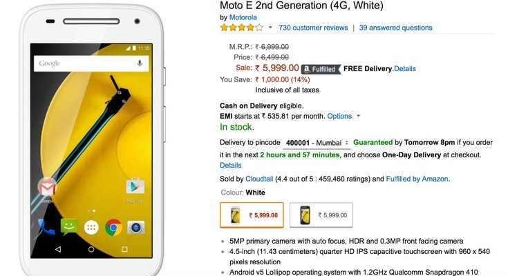 Moto devices through Amazon India treated to price cuts