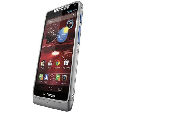 Motorola Droid Razr M Platinum with blue buttons at Best Buy