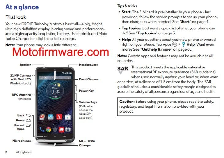 Motorola Droid Turbo specs and features show in manual