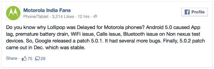 Motorola Moto E Android Lollipop
