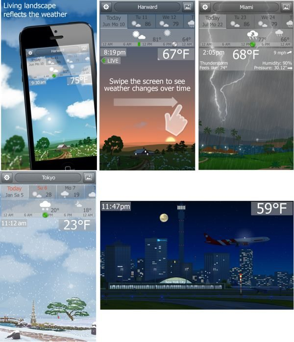 New YoWindow weather iPhone app with real-time landscape