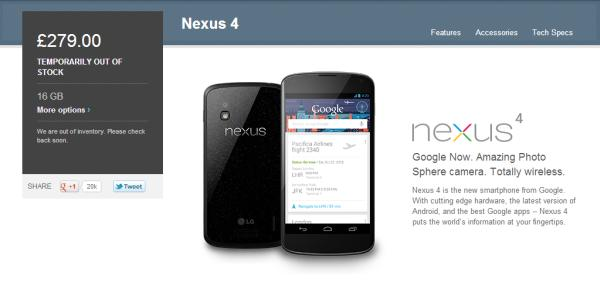 Nexus 4 Google Play price alternatives are hard to find