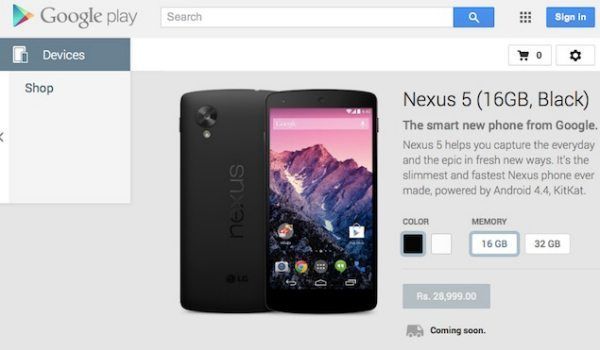Nexus 5 India price official from Rs. 28,999