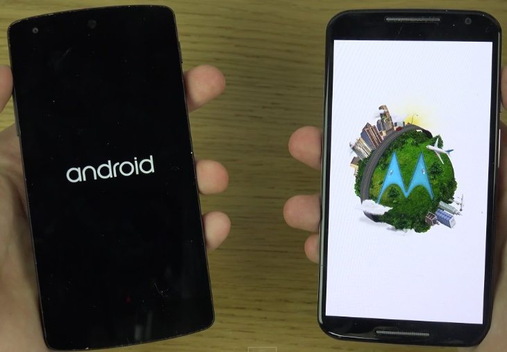 Nexus 5 vs Moto X (2014) Android Lollipop speed look