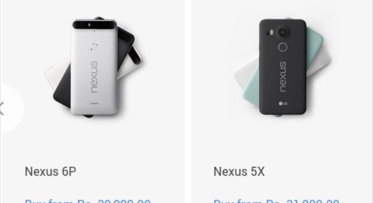Nexus 5X and Nexus 6P prices for India