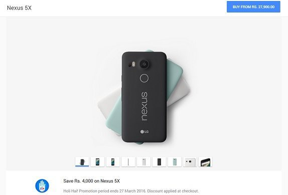 Nexus 5X price slash on Google Store India, limited time