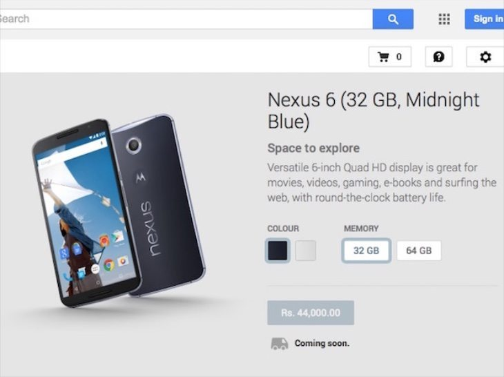 Nexus 6 price for India