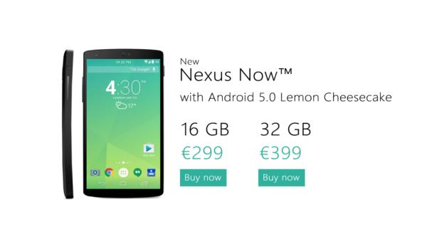 Nexus 6 with Android 5.0 and price imagined
