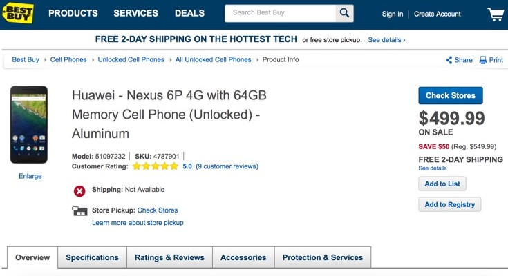 Nexus 6P now on sale at Best Buy with lower price