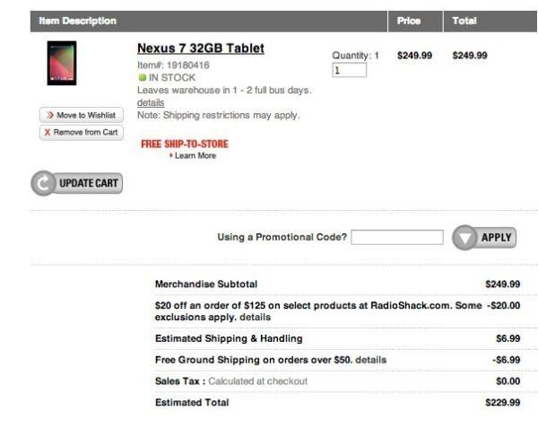 Nexus 7 via RadioShack cheaper than Google Play