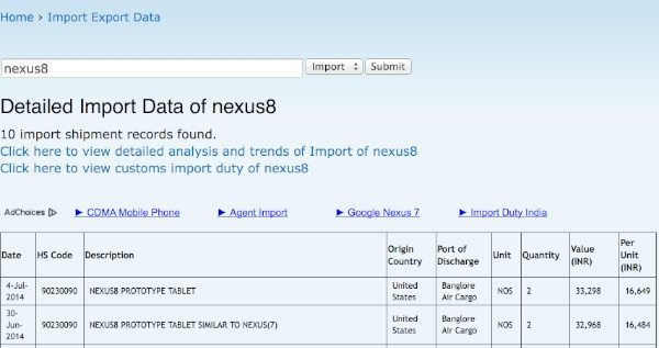 New Nexus 8 evidence appears on listing