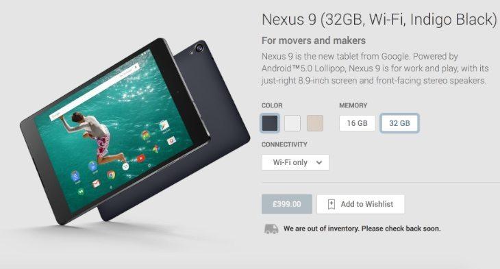 Nexus 9 orders hitting delays in UK
