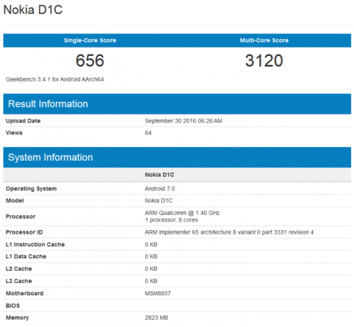 Nokia D1C Spotted on Geekbench Running Android Nougat ...