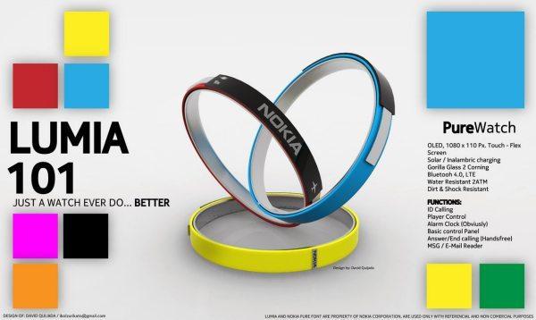 Nokia Lumia 101 smartwatch with flex screen