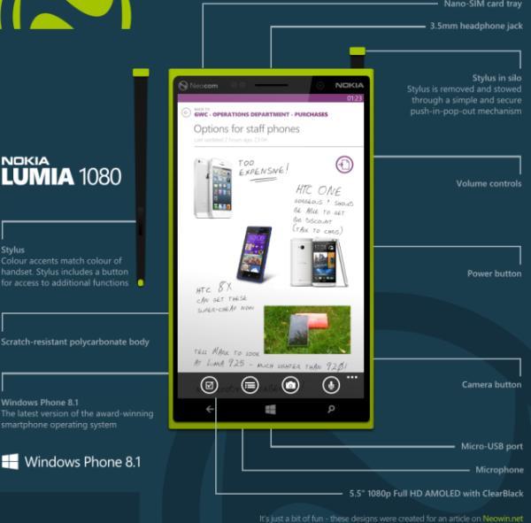 Nokia Lumia 1080 WP 8.1 5.5-inch concept
