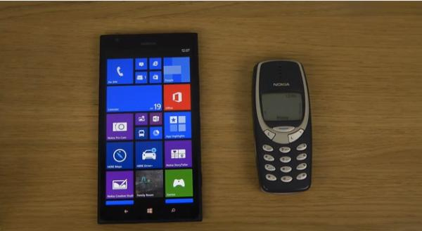 Nokia Lumia 1520 vs Nokia 3310 in evolving speed test