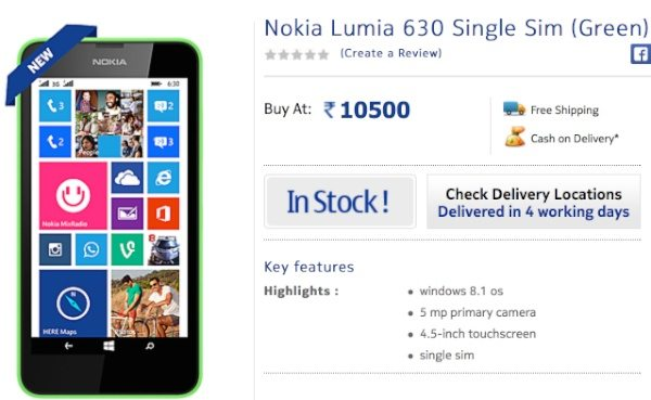 Nokia Lumia 630 single SIM price for India, available now