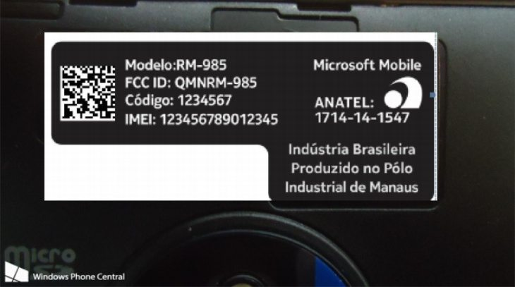 Nokia Lumia 830 certification b